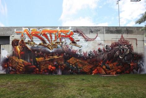K6A wall at the Festival de Canes, featuring Axe, Dodo Osé, Fleo, Saer, Serak, Monk.e and OstieOne