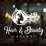 Hair Beauty Salon Shop Vinyl Sign Women Hairdressers Window Lettering Sticker