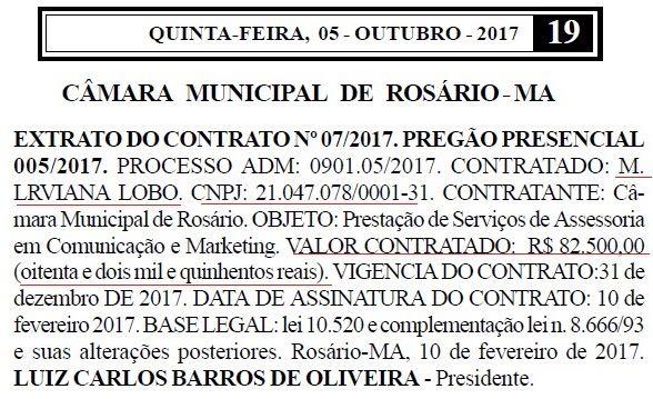 Empresa que presta serviços de comunicação à Câmara de Rosário não tem experiência para atuar no setor