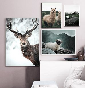 Alpaca-Llama-Sheep-Animal-Poster-Nordic-Style-Canvas-Print-Landscape-Art-Painting-Wall-Picture-for-Modern-1