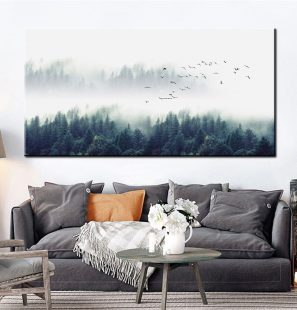 Foggy-Forest-Canvas-Poster-Landscape-Art-Print-Long-Banner-Painting-Nordic-Art-Decoration-Nature-Wall-Picture