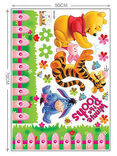 Cartoon Animals Winnie Pooh Wall Stickers For Kids Children Room Decaor Window Bear Tiger Height