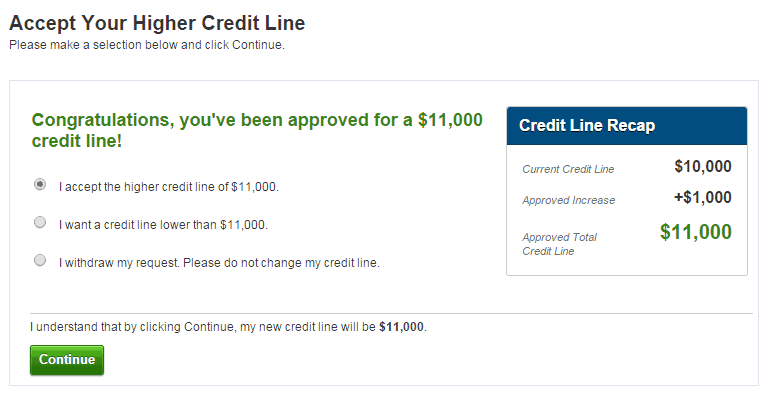 CapitalOne Credit Line Increase Request Results
