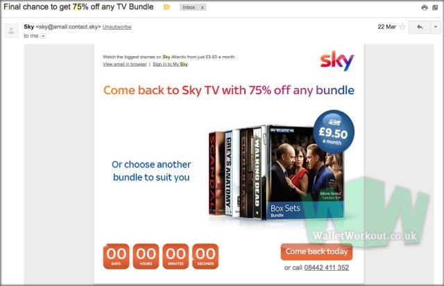 Sky Discount Code : 75% off all Sky packages offer