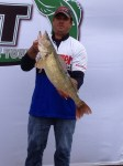 Pro Mike Cira with biggest NWT Day 2 walleye--a 29 incher!