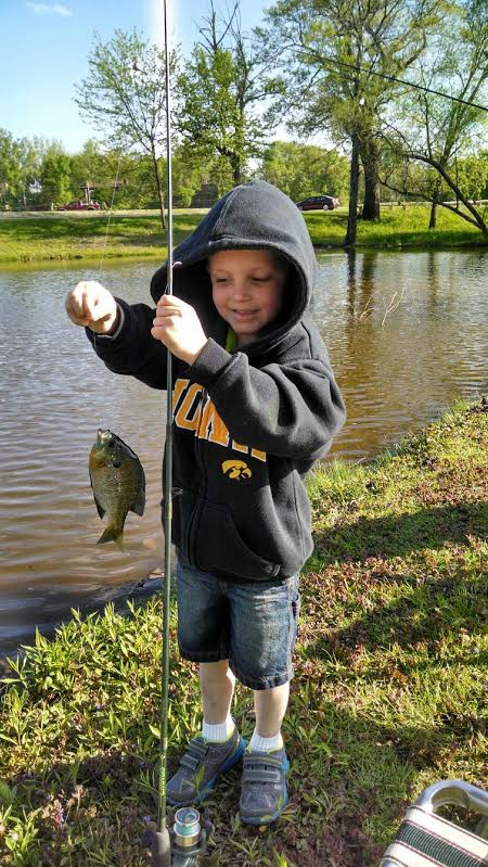 Gage Sears caught his very first fish today at Robins Lake, Ellis Park, Cedar Rapids, IA!!  Thank you to his Grandma Dee for sharing the photo of a future walleyewisdom.com fan!!
