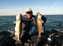Canadian Pat Woogh with a couple big Lake Erie walleyes from Day 1, Port Clinton, OH!