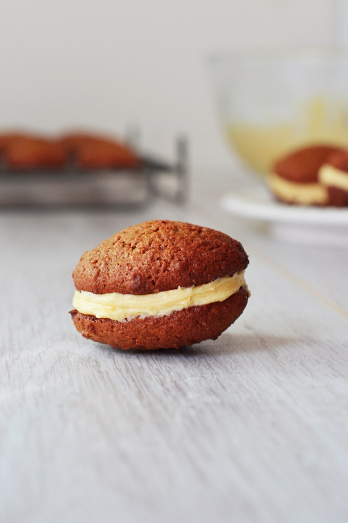 Mini Gingerbread Whoopie Pies with Orange Buttercream Filling