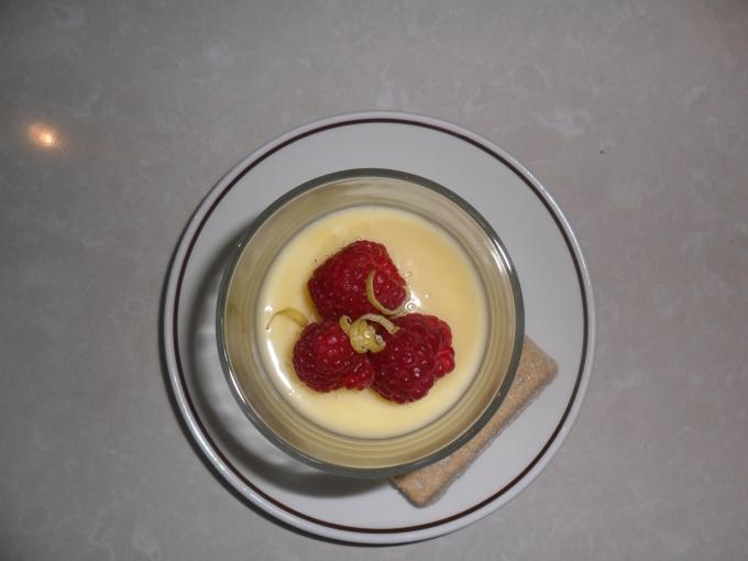 Lemon possets with fresh raspberries