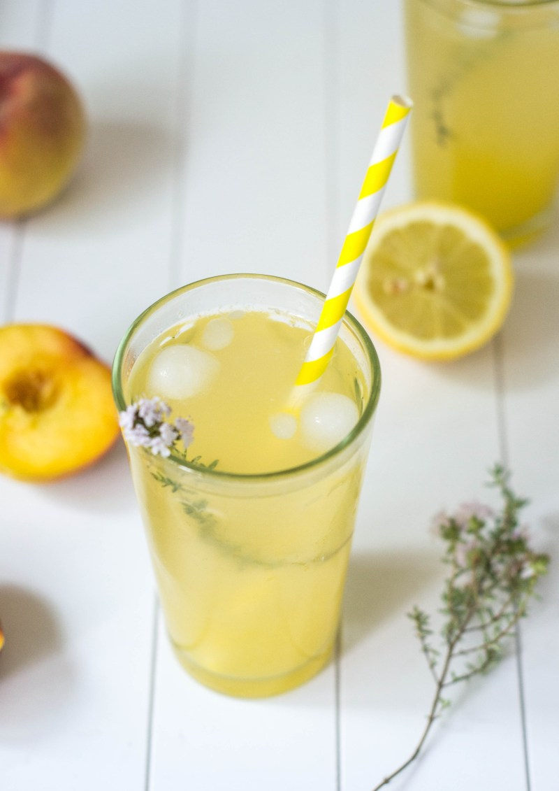 Maple Lemonade with Peaches & Thyme