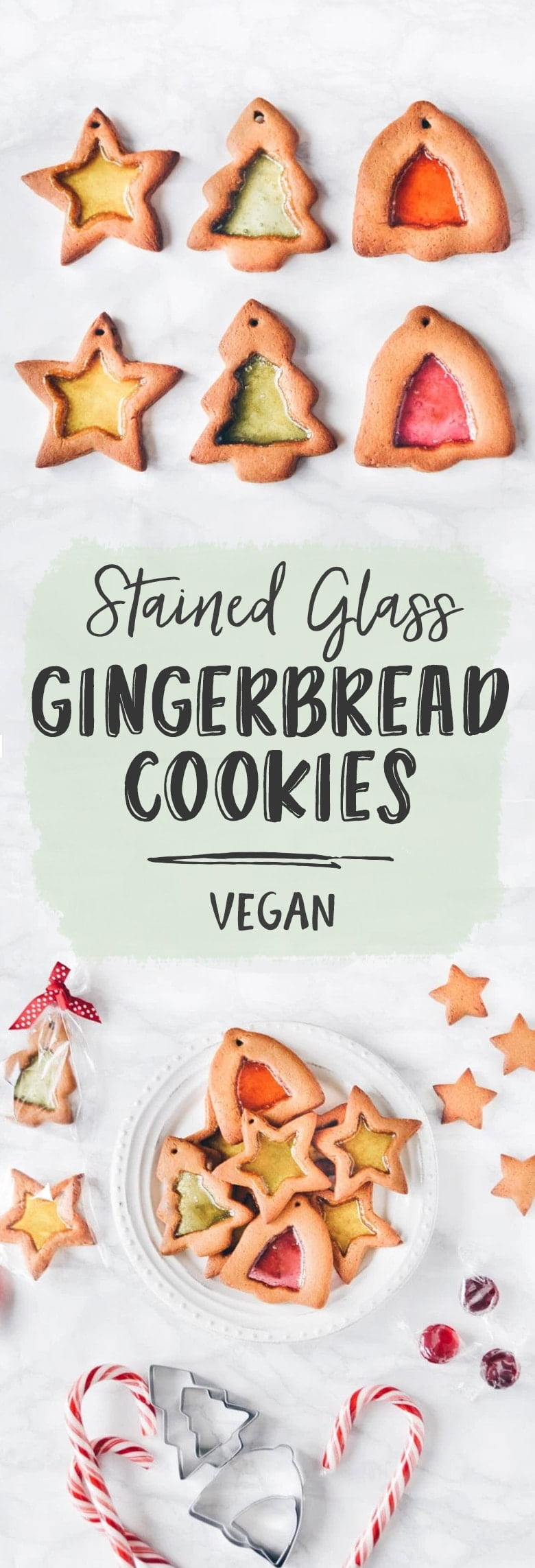 Gingerbread Stained Glass Cookies (Vegan)
