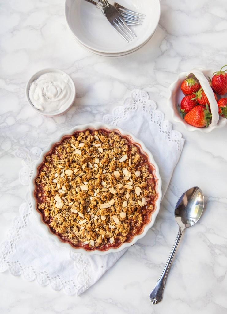Flourless Strawberry, Almond & Amaretto Crumble