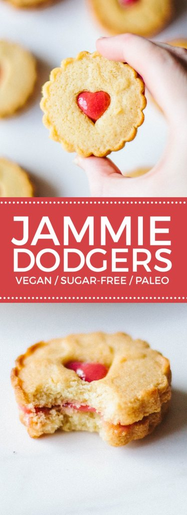 Jammie Dodgers get a makeover! These are gluten-free, vegan, sugar-free and paleo-friendly!
