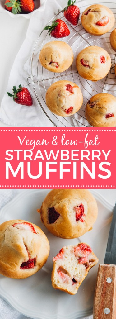 Low-Fat Vegan Strawberry Muffins (with a tested gluten-free option) + low-fat!