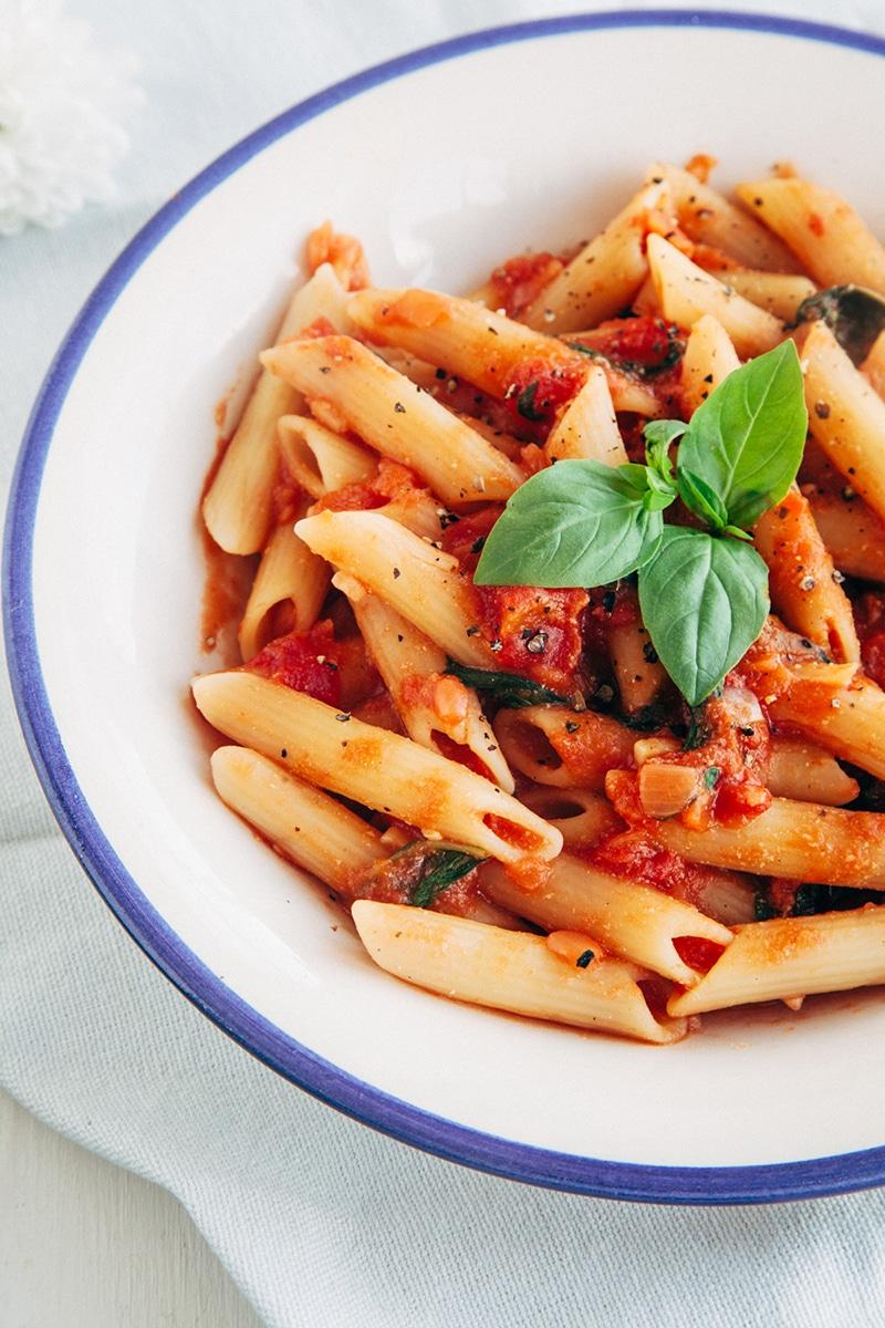 easy delicious tomato basil penne wallflower kitchen