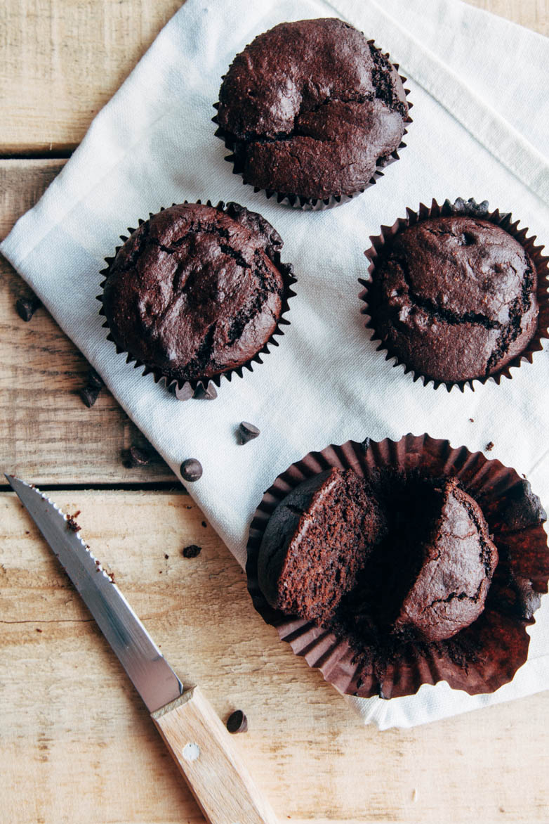 Double Chocolate Buckwheat Muffins (Vegan + Gluten-free)