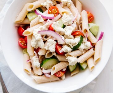 Greek Pasta Salad (Vegan + GF)