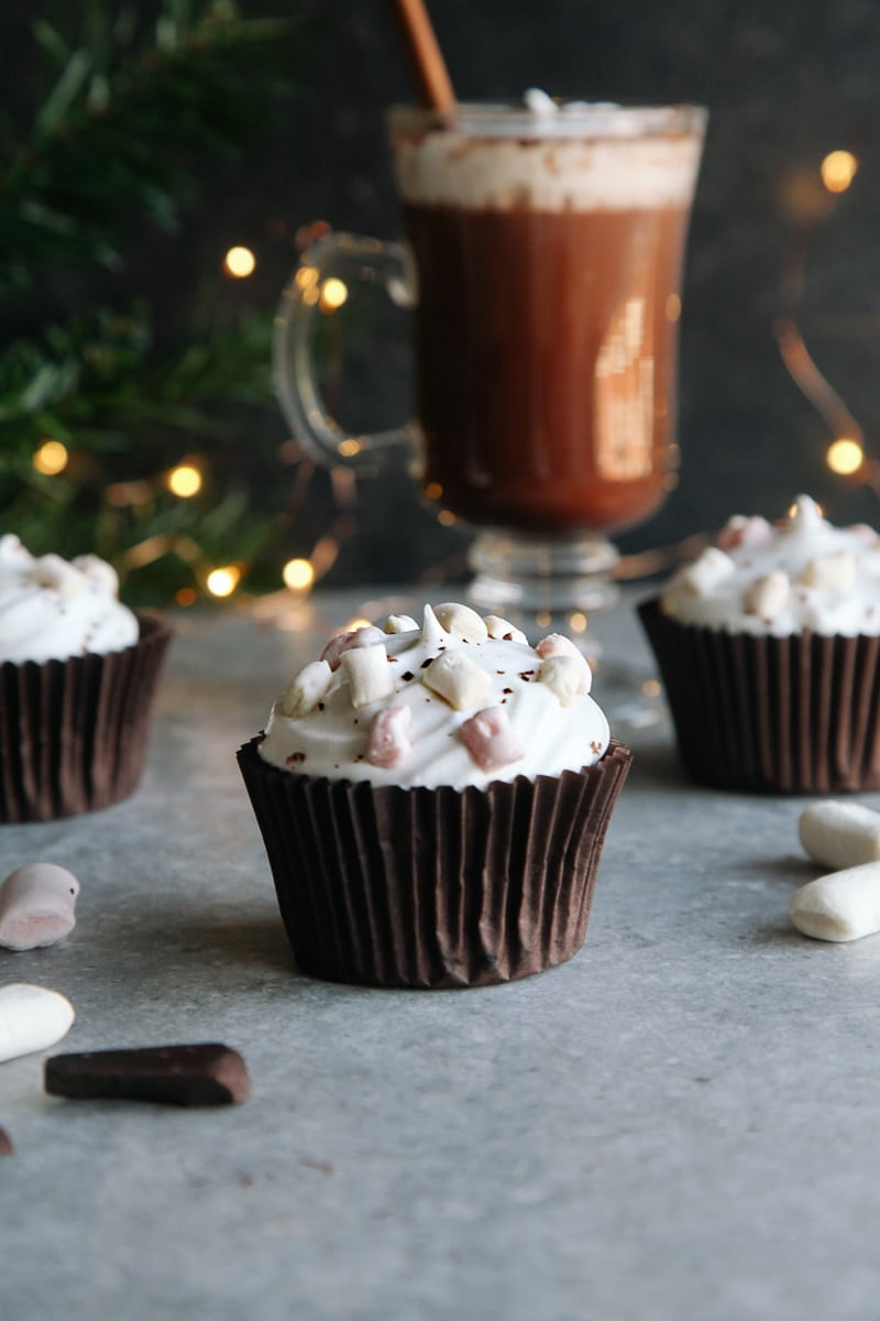 Hot Chocolate Cupcakes (Vegan) - Rich chocolate cupcakes topped with aquafaba marshmallow frosting!