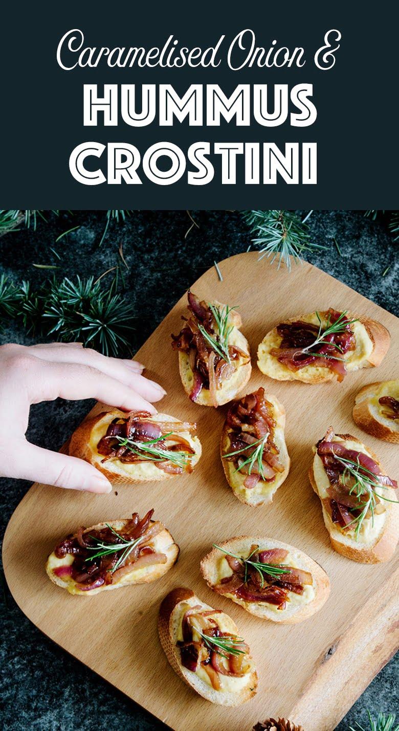 Hummus & Caramelised Onion Crositini