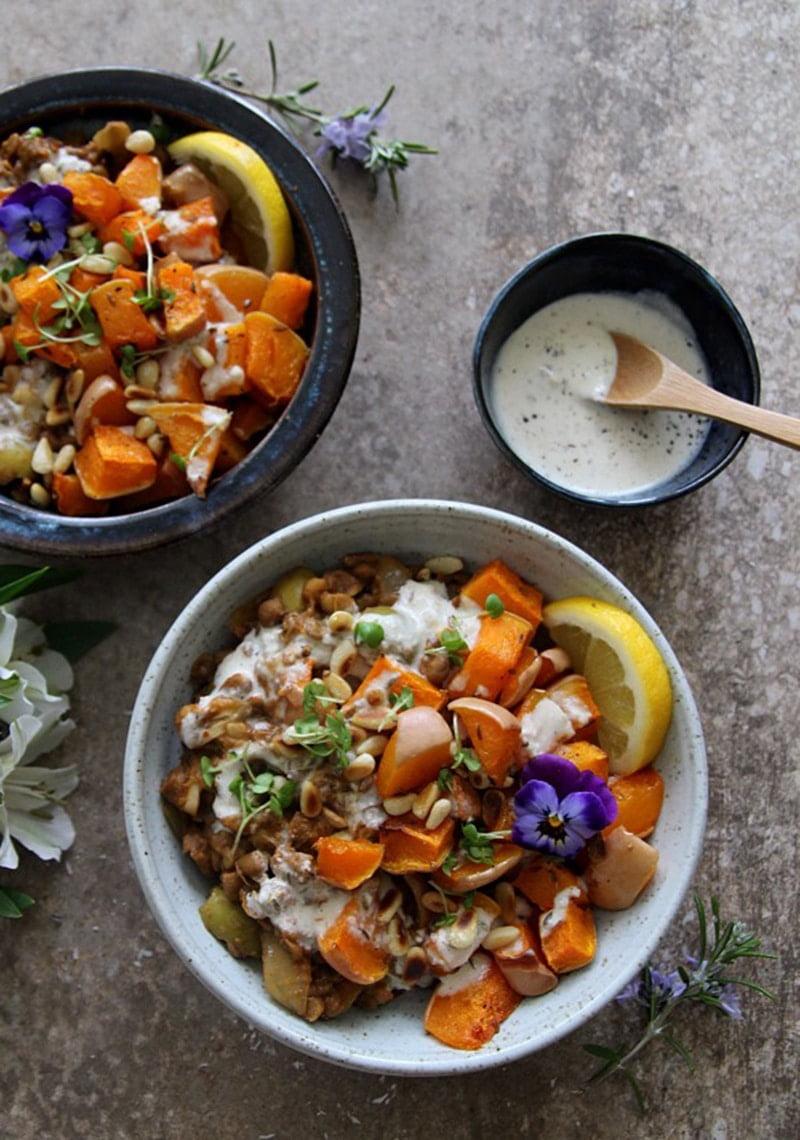 Quick Harissa Lentils with Roast Squash and Tahini Dressing