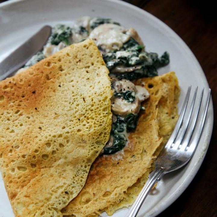 Savoury Chickpea Crepes with Creamy Mushrooms & Spinach (Vegan + GF)