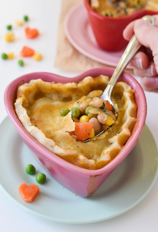 Heart-Shaped Vegan Pot Pies (Gluten-free) via forkandbeans.com