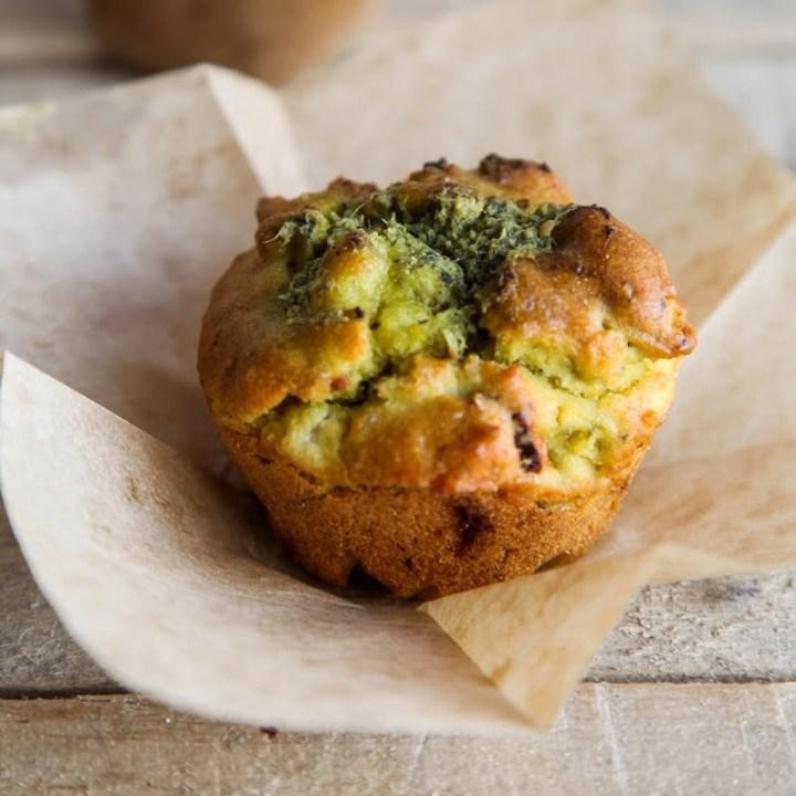 Savoury Pesto Muffins (Vegan + GF)