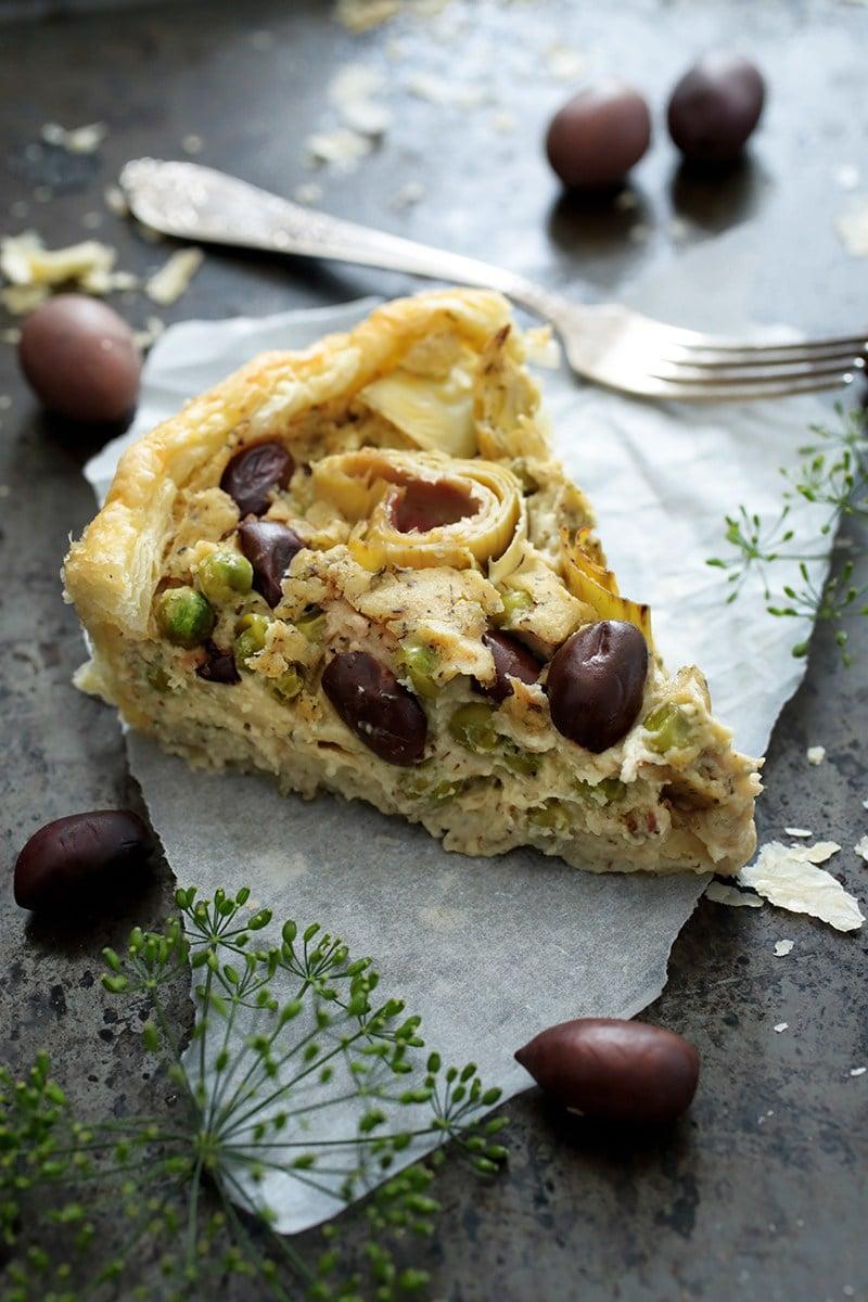 Vegan Olive Artichoke Tart via greenevi.com