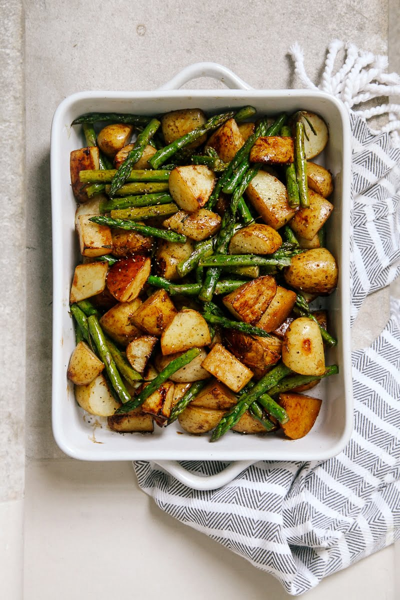 Balsamic Roasted New Potatoes With Asparagus Wallflower