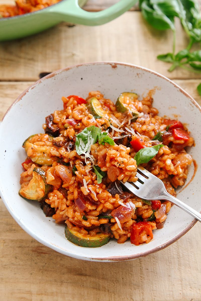Tomato & Roasted Mediterranean Vegetable Risotto #vegan #vegetarian #glutenfree #dairyfree #dinner #italian