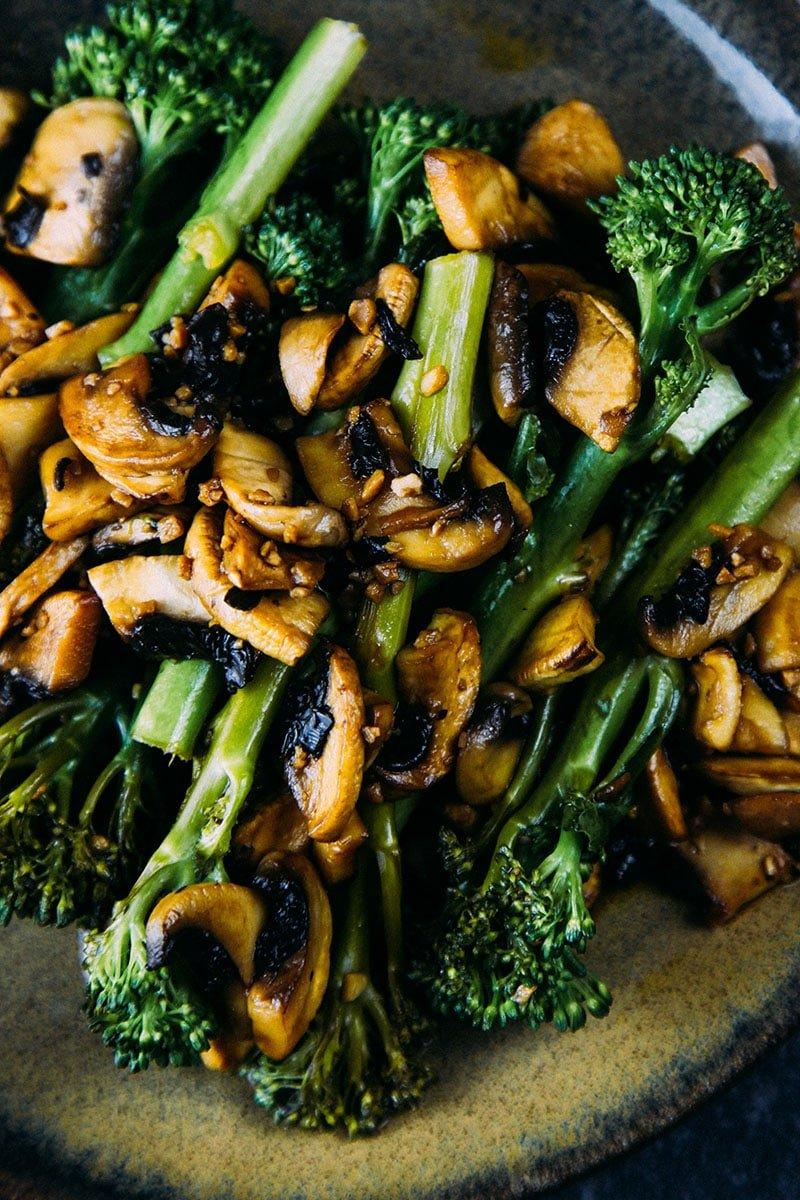 Sautéed Tenderstem® with Garlic Balsamic Mushrooms #vegan #sides #recipe #vegetarian