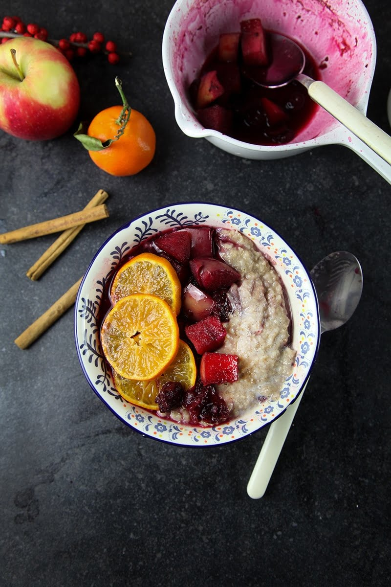 Spiced Porridge with Mulled Fruit Compote