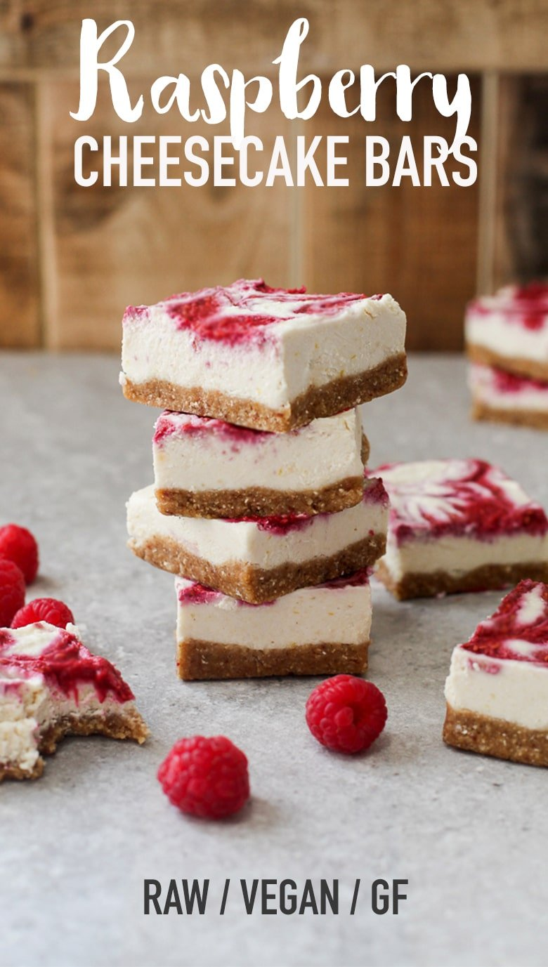 Raw Raspberry & Lemon Cheesecake Bars #raw #vegan #glutenfree #dessert