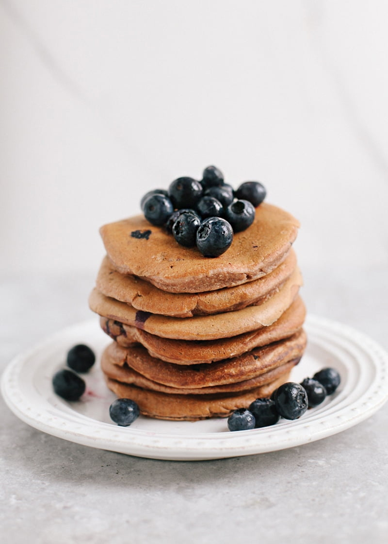 Wholewheat Blueberry Pancakes #vegan #oilfree #healthyrecipes