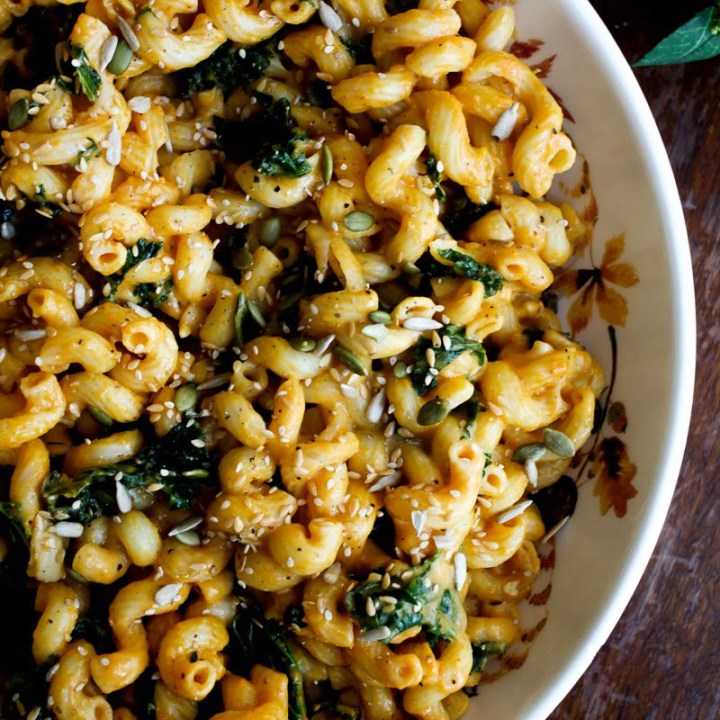 Vegan Pumpkin Mac 'n' Cheese with Kale