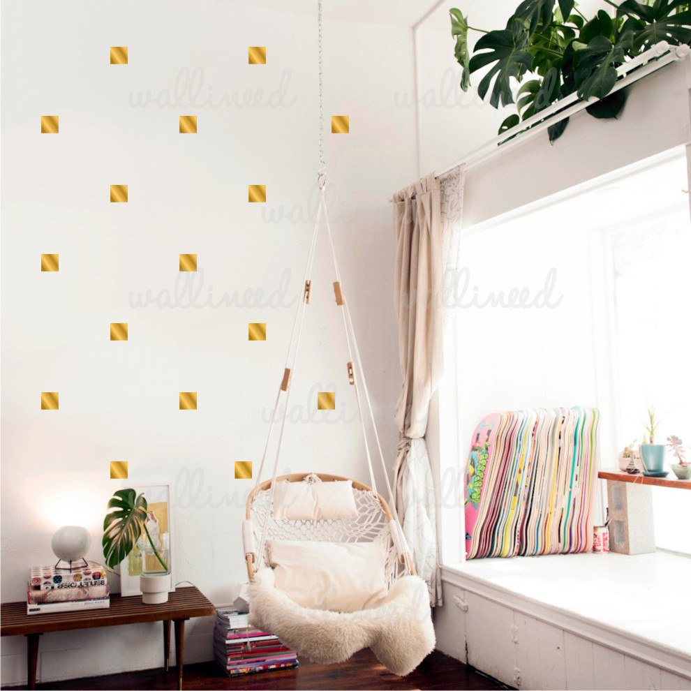 metallic gold squares polka dots wall decal