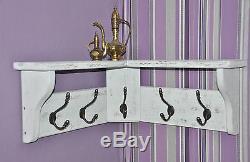 solid wood hat coat corner rack with shelf shabby chic white wash 3 5 7 9 hooks