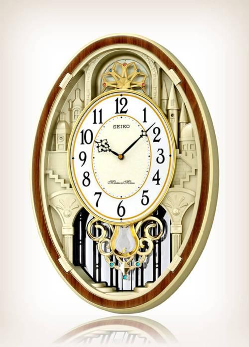 Seiko QXM369BRH Gold-Tone Melody Clock