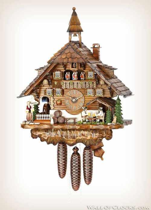 Hekas 3736-8 EX Belltower Beer Drinkers Cuckoo Clock