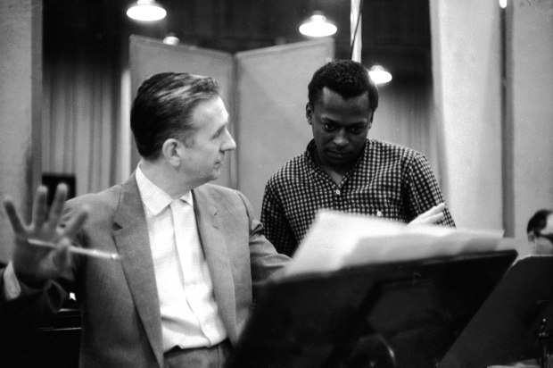 "Miles Davis and Gil Evans at Columbia Studios in 1957 for the ""Miles Ahead"" sessions. Photo credit: Sony Music Entertainment."