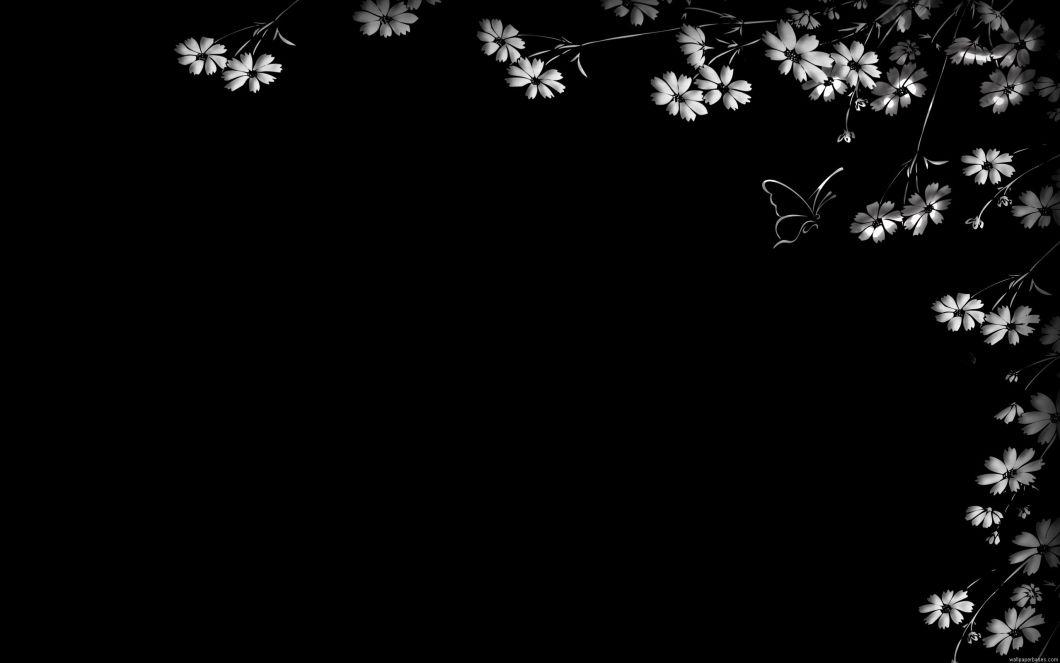 White with black flowers wallpaper walljdi black flower wallpapers group 68 mightylinksfo