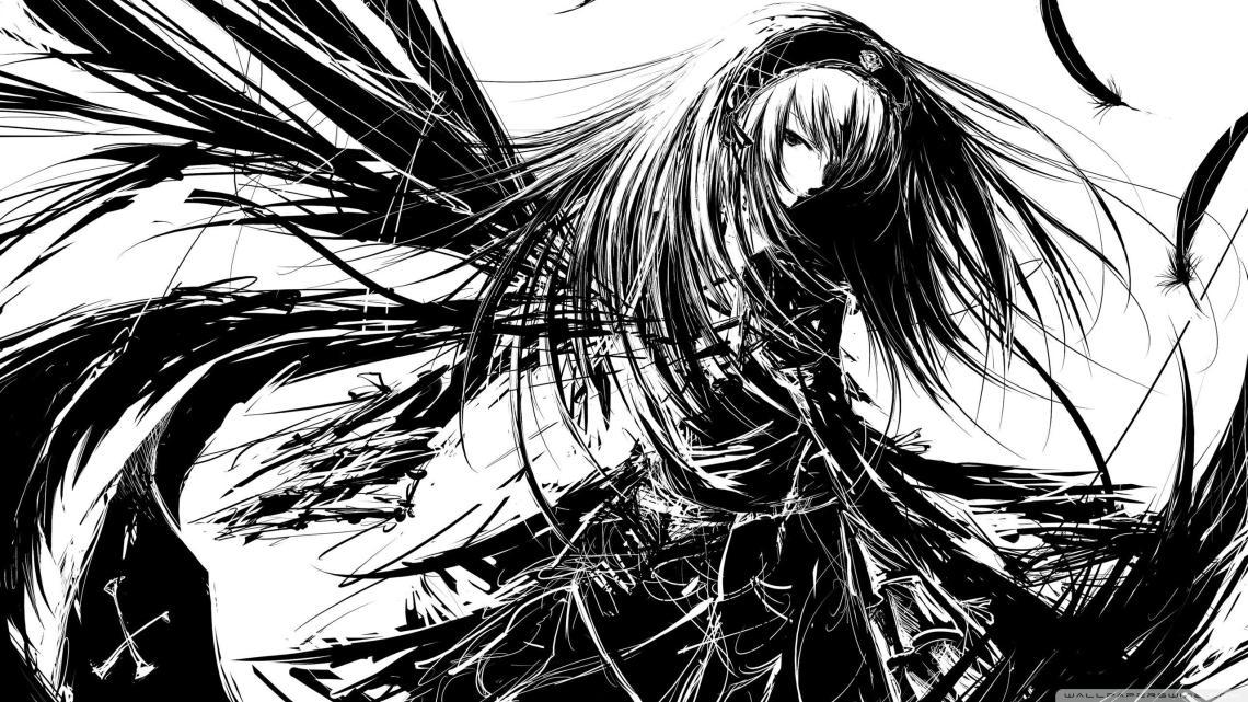 Black And White Manga Wallpapers Top Free Black And White Manga Backgrounds Wallpaperaccess