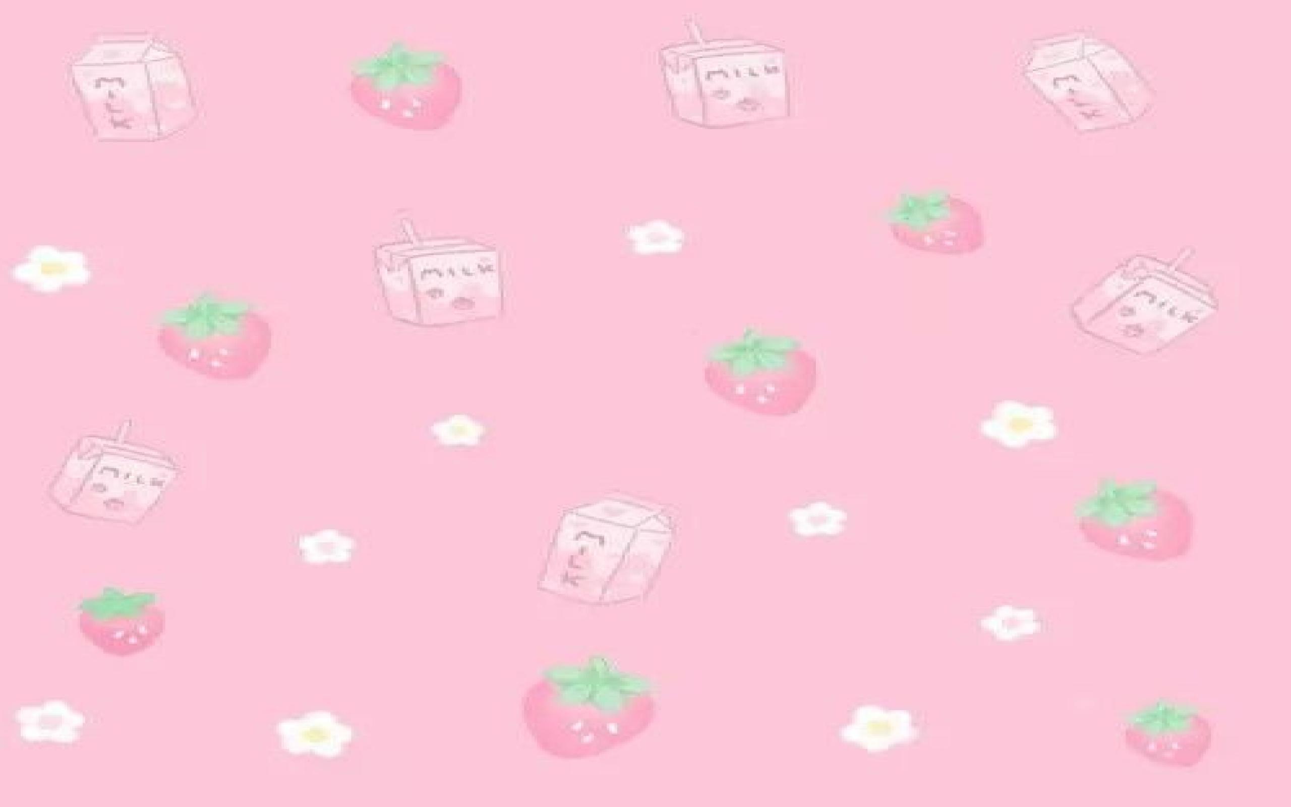 Kawaii Cute Strawberry Cow Wallpaper ...