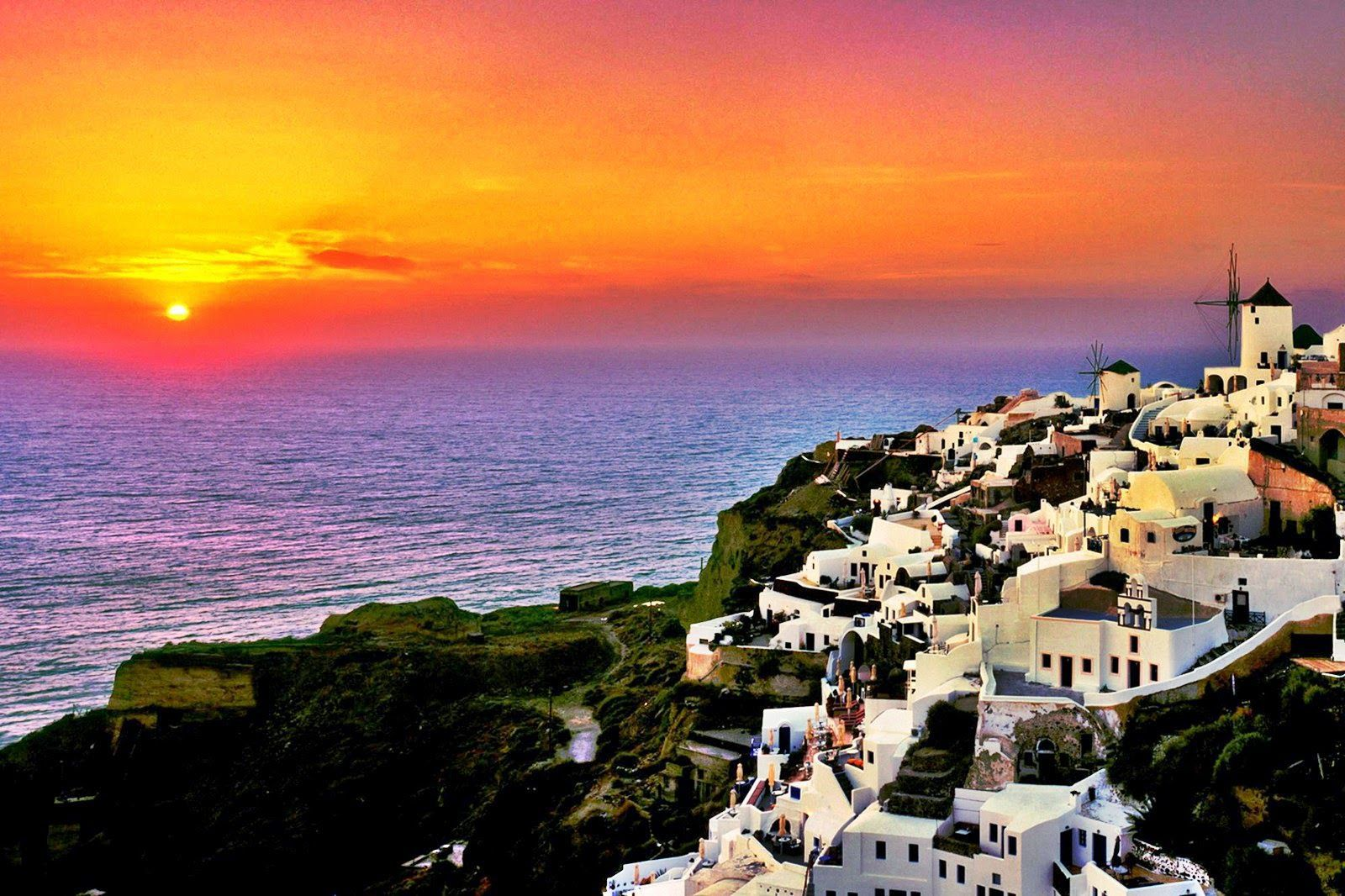 Santorini Sunset Greece Wallpapers