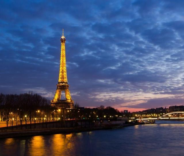 Eiffel Tower Paris Landscapes Night Seine Desktop Wallpaper