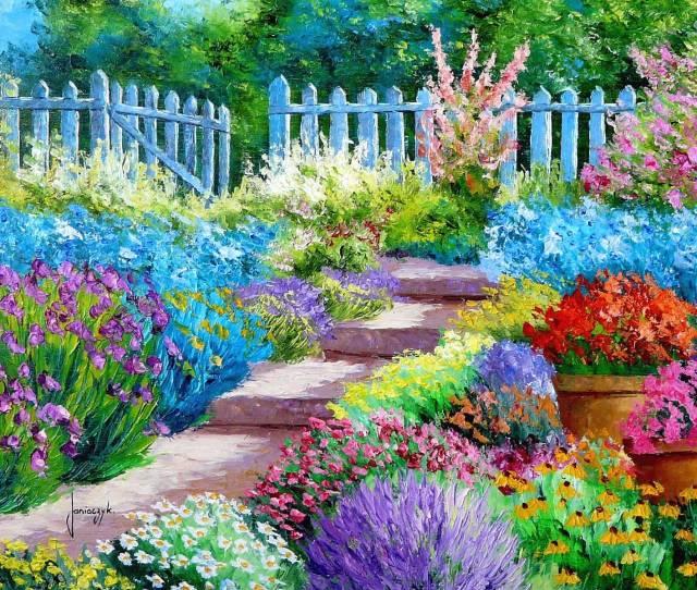 Flower Garden Painting Art Wallpaper 1600x1200 176827