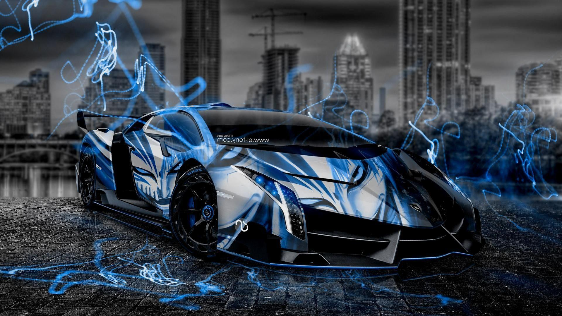Black And Neon Blue Lamborghini