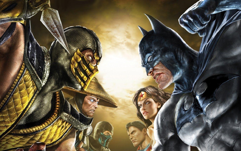Cover art of Mortal Kombat vs DC Universe, with Scorpion against Batman, Raiden against Wonder Woman, and Sub-Zero against Superman.