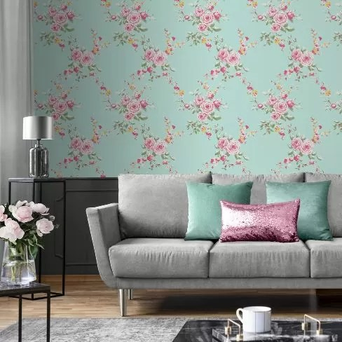 Muriva Catherine Lansfield Canterbury Floral Duck Egg Pink 165500 Wallpaper Central