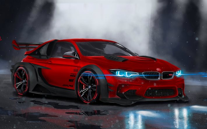 Download Wallpapers BMW M4 F82 4k Supercars Tunign